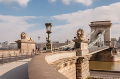 The Szechenyi Chain Bridge on the River Danube in Budapest, Hungary Stock Images
