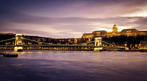 Szechenyi Chain Bridge and Royal Palace Royalty Free Stock Images