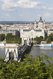 Szechenyi Chain Bridge and Royal Palace Royalty Free Stock Photography