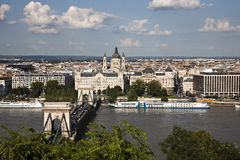 Szechenyi Chain Bridge and Royal Palace Stock Photo