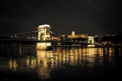 Szechenyi Chain Bridge and Royal Palace, Budapest Royalty Free Stock Images