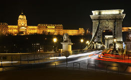 Szechenyi Chain Bridge and Royal Palace in Budapest. Hungary Royalty Free Stock Photos