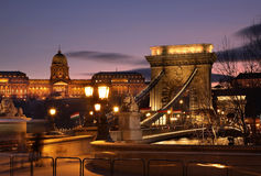 Szechenyi Chain Bridge and Royal Palace in Budapest. Hungary Stock Photo