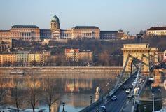Szechenyi Chain Bridge and Royal Palace in Budapest. Hungary Stock Photos