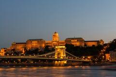 Szechenyi Chain Bridge and Royal Palace at dusk Royalty Free Stock Photography