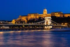 Szechenyi Chain Bridge and Royal Palace at dusk Stock Images