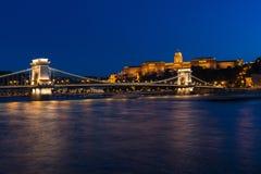 Szechenyi Chain Bridge and Royal Palace at dusk Stock Photo