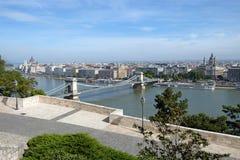 Szechenyi Chain Bridge is a suspension bridge across the River D Stock Photography
