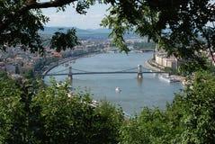 Szechenyi Chain bro, Budapest, Royaltyfria Bilder