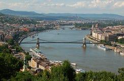 Szechenyi Chain bro, Budapest, Royaltyfria Foton