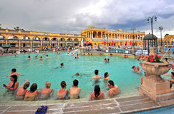 Szechenyi Medicinal thermal Bath in Budapest Stock Photos