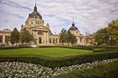 Szechenyi spa bad, Boedapest Hongarije Royalty-vrije Stock Afbeeldingen