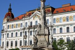 The Szechenyi square monument and building Pecs Royalty Free Stock Image