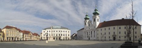 Szechenyi ter square with church and city hall in Gyor in Hungary Royalty Free Stock Photos