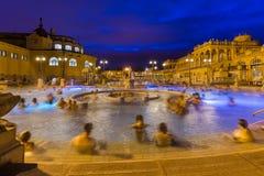 Szechnyi热量浴温泉在布达佩斯匈牙利 免版税图库摄影