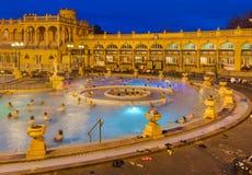 Szechnyi热量浴温泉在布达佩斯匈牙利 库存图片