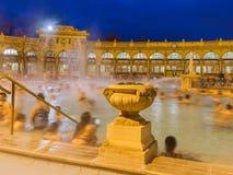 Szechnyi termisk badbrunnsort i den Budapest Ungern Fotografering för Bildbyråer