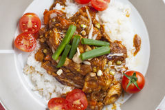 Szechuan chicken with white rice on a plate. Decorated with chive and cocktail tomato Royalty Free Stock Image