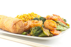 Szechuan Shrimp with Chinese Vegetables Royalty Free Stock Photography