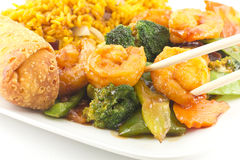 Szechuan Shrimp with Chinese Vegetables Royalty Free Stock Image