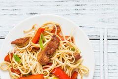 Szechuan stir fried spicy pork with red pepper and green onion Royalty Free Stock Image