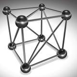 Sześcian od związanych butli i sfer jakaś piękny struktury wizerunku kratownicy metalu obrazek biały Zdjęcie Stock