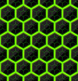 Sześciokąty czerń kamień z zielonymi gorącymi smugami energia tekstura bezszwowy wektor deseniowa bezszwowa technologia Obraz Stock