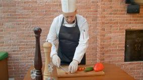 Szefów kuchni tnący pomidory w kuchni Zdjęcia Royalty Free