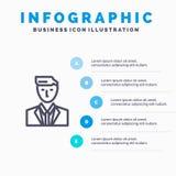 Szef, Ceo, głowa, lider, Mr Wykładający ikona z 5 kroków prezentacji infographics tłem ilustracja wektor