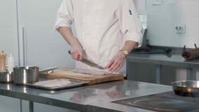 Szef gotuje ryba w restauraci zdjęcie wideo
