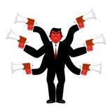 Szef i megafon Biznesmen i udziały ręki Dyrektora scol ilustracja wektor