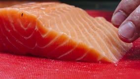 Szef kuchni bierze za kościach od łososia polędwicowego, rozcięcie ryba na plasterkach dla kulinarnego suszi w 4k postanowieniu w zbiory