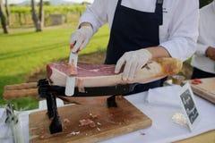 Szef kuchni ciie ręka baleron Obraz Stock