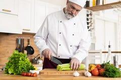 Szef kuchni ciie ?wie?ych i wy?mienicie warzywa dla gotowa? zdjęcie stock