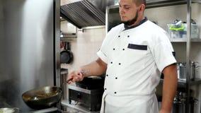 Szef kuchni, dłoniaka posiłek przygotowywa w niecce w hotelowym lub restauracyjnym kuchennym flambe stylu Rondel na ogieniu podcz zdjęcie wideo