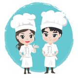 Szef kuchni dziewczyna i chłopiec jesteśmy charakterem dla maskotki restauracji ilustracja wektor