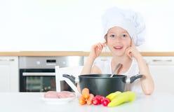 szef kuchni dziewczyny kapelusz trochę Zdjęcia Stock