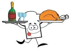 szef kuchni faceta kapeluszowej porcja indyczy wino Zdjęcia Stock