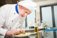 Szef kuchni garniruje naczynie obrazy stock