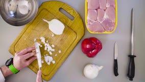 Szef kuchni gotuje kurczaka naczynie Tnąca cebula zbiory