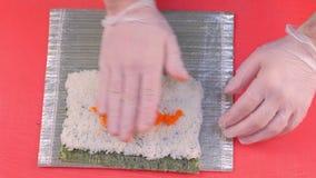 Szef kuchni gotuje rolki z czerwonym kawiorem na wierzchołku Robić rolka procesowi Ręki zakończenie zdjęcie wideo