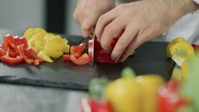 Szef kuchni gotuje zdrowego jedzenie przy kuchenną restauracją Zbliżenie wręcza rozcięcie pieprzu zdjęcie wideo