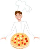 Szef kuchni i pizza Zdjęcia Stock