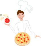 Szef kuchni i pizza Zdjęcie Stock