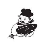 Szef kuchni i ryba Zdjęcie Stock