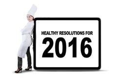 Szef kuchni i zdrowi postanowienia dla 2016 Zdjęcia Royalty Free