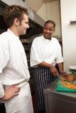 szef kuchni instruowania praktykant fotografia royalty free