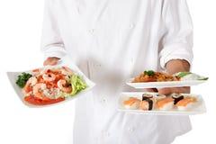 szef kuchni karmowej ręki męski Oriental talerz Zdjęcia Stock