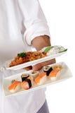 szef kuchni karmowej ręki męski Oriental talerz Obrazy Stock
