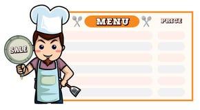 Szef kuchni kreskówka, menu deskowa karmowa lista Obrazy Stock